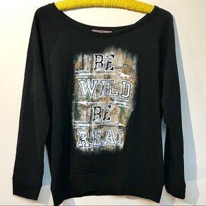Realtree long sleeve black tee shirt size large